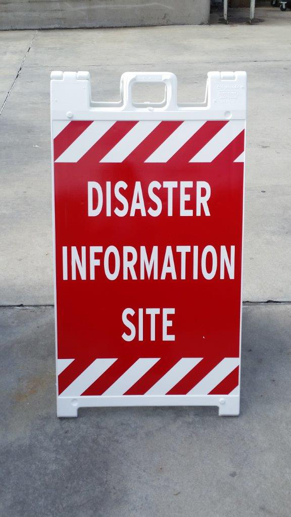 Disaster Information Site sign