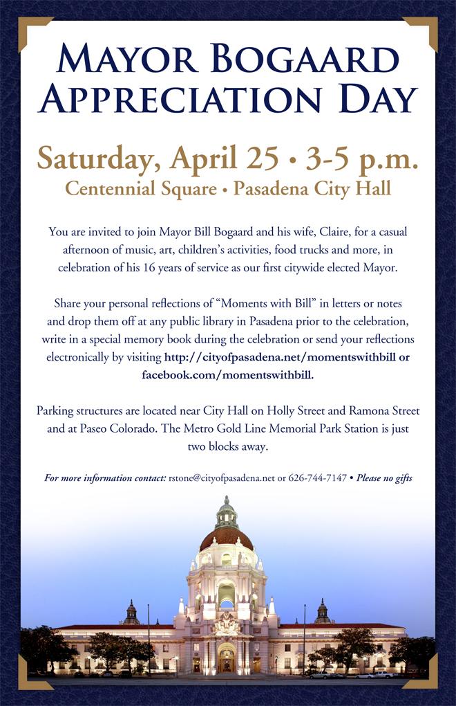 Mayor Bogaard Appreciation Day invite