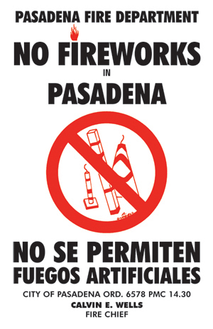 No Fireworks vertical banner in English and Spanish