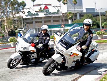 Pasadena Police motorcycles at Rose Bowl