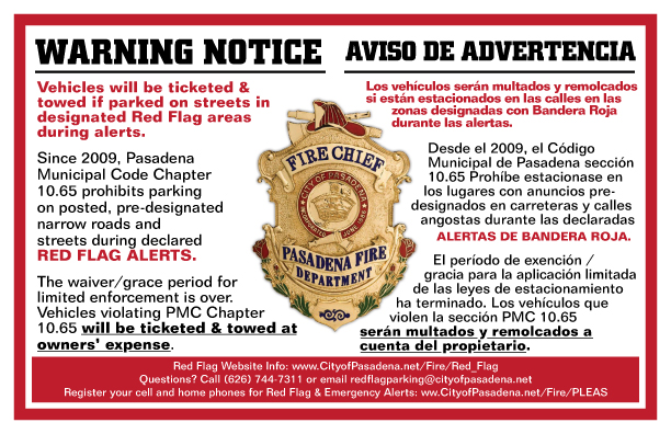 Red Flag Warning Notice - English and Spanish