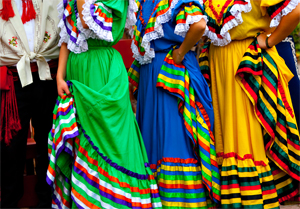 Image of colorful latino dresses