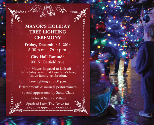 Mayor's Christmas Tree Lightning Ceremony 2014 flyer