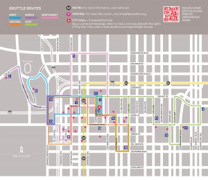 Map showing routes for free shuttles to take you to the venues for Art Night March 2017