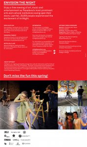 Back cover of brochure for Art Night March 2017