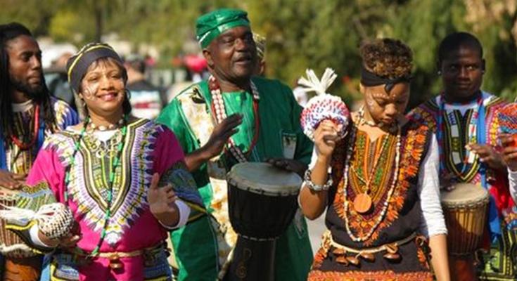 Historic photo of participants in prior Black History Month Parade in Pasadena California