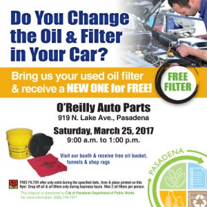 Flyer announcement from Public Works Department for the FREE Oil Filter Exchange event on March 25, 2017