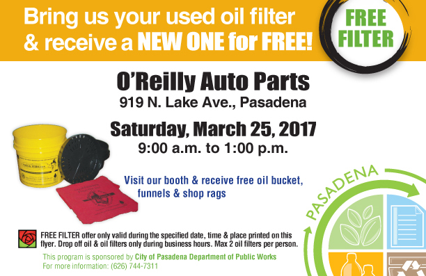 Close Up on part of the Oil Filter Exchange Program flyer highlighting date details of event, 9 a.m. to 1 p.m., Saturday, March 25, 2017