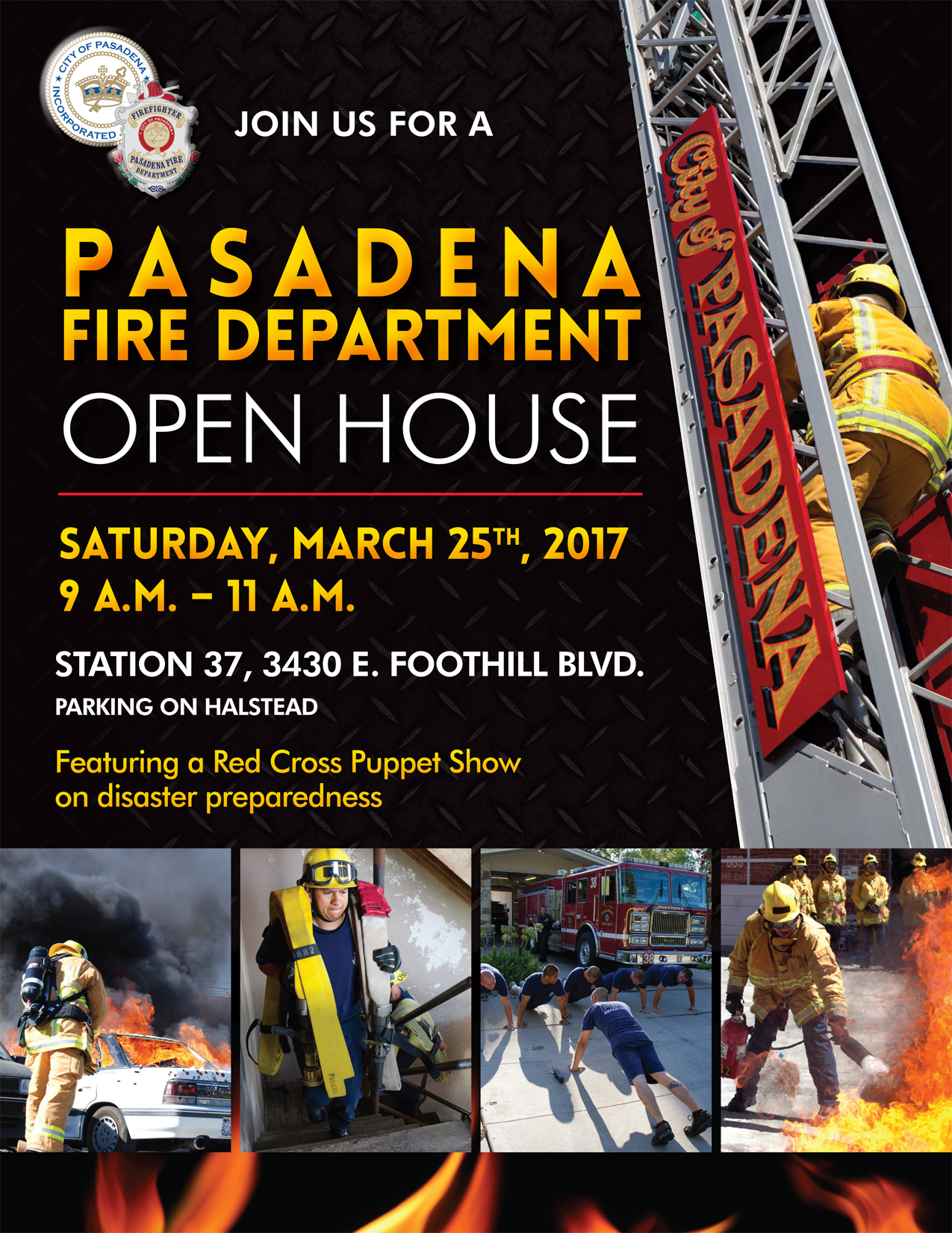 Flyer Announcing Pasadena Fire Department Station 37 Open House Saturday March 25, 2017