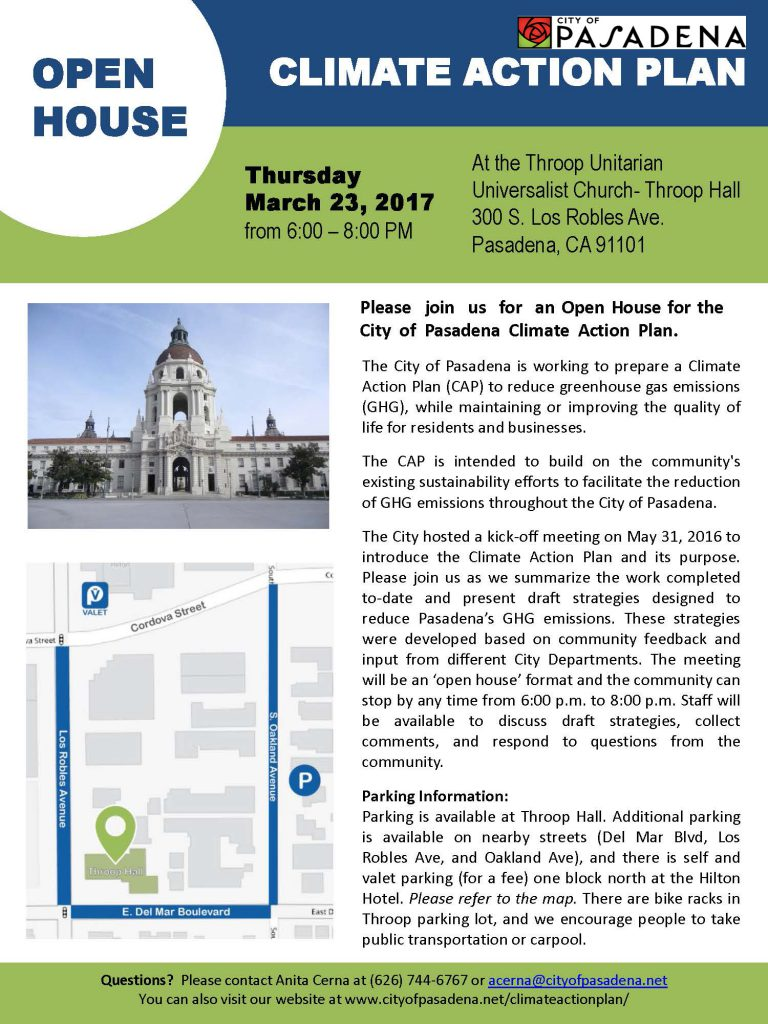 Announcement from City on Climate Action Plan meeting 6 to 8 p.m., Thursday, March 23, 2017 at Throop Church, 300 S. Los Robles Avenue