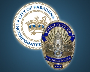 Picture of Pasadena Police Department Badge and City Seal used to help announce police news releases