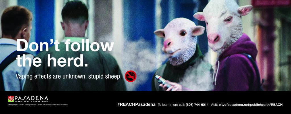 "Public Service Announcement about the dangers of vaping and e-cigarettes, especially by young people who often pick up the addictive habit due to a ""herd mentality"" of peer pressure. Image shows young people as sheep vaping."