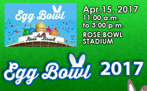 Flyer announcing Egg Bowl 2017 at the Rose Bowl Stadium April 15, 2017