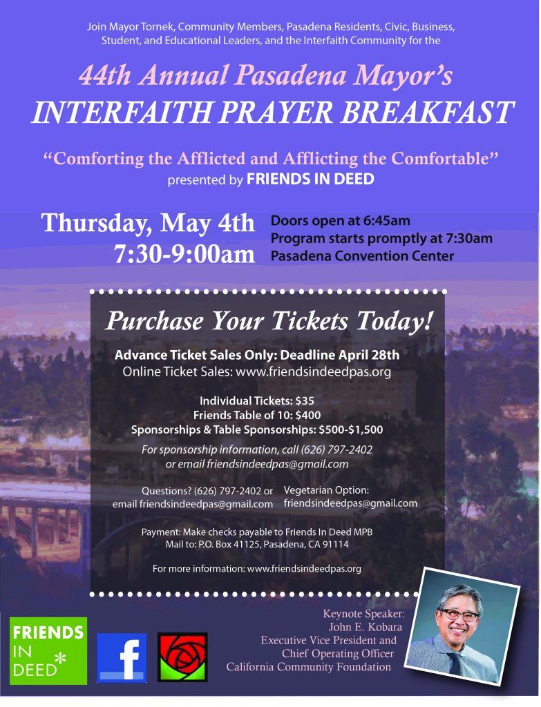 Flyer announcing annual Mayor's Prayer Breakfast May 4, 2017