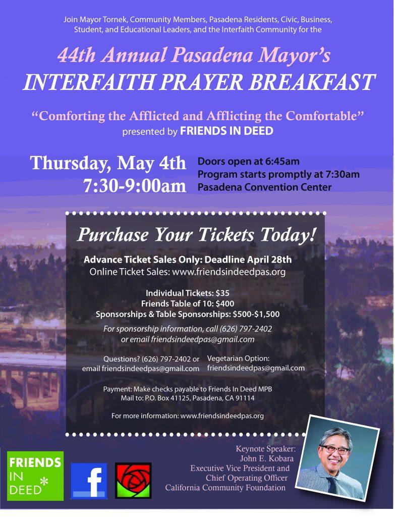 Flyer announcing annual Mayor's Prayer Breakfast May 4, 2017