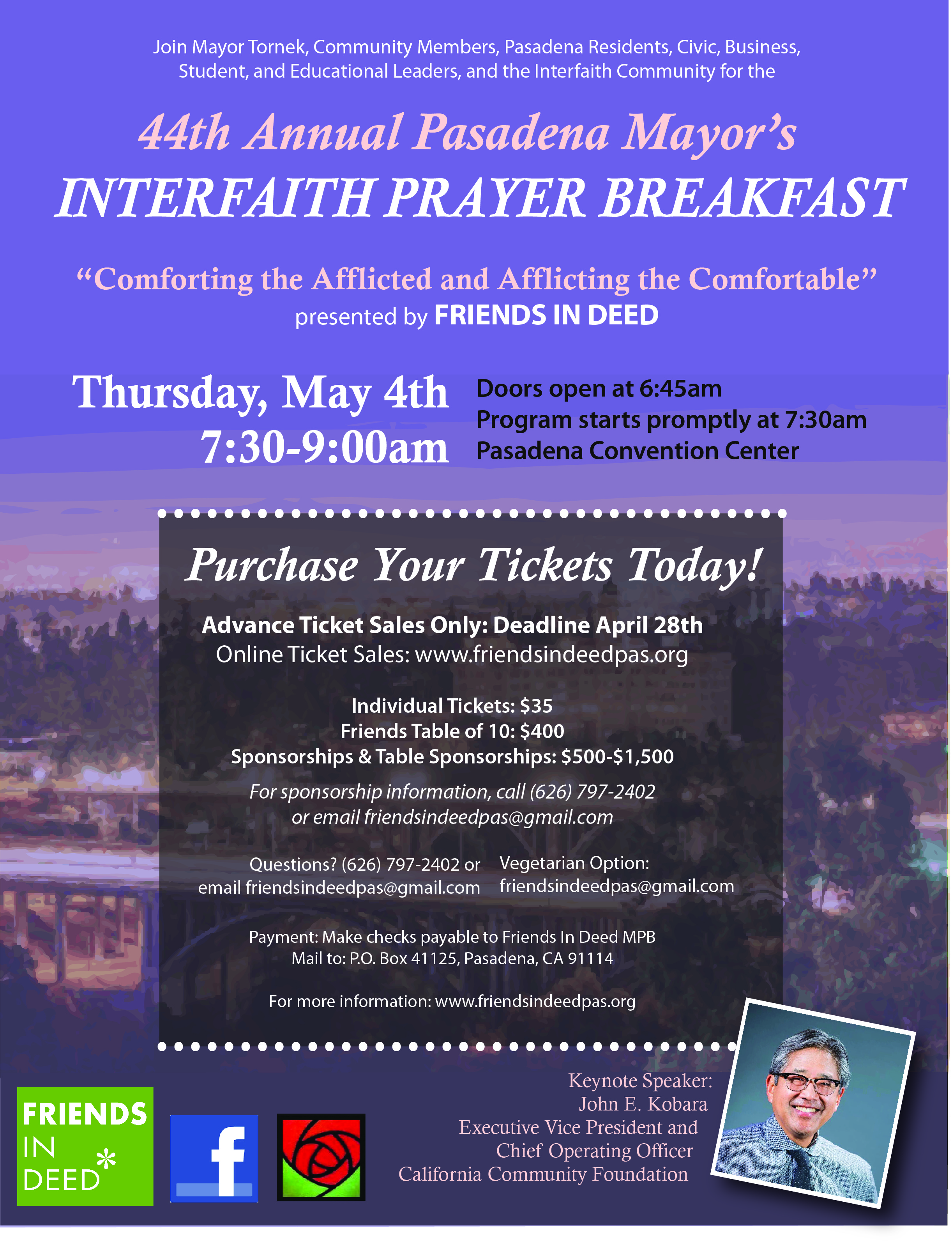 tickets available to annual mayor u2019s prayer breakfast may 4