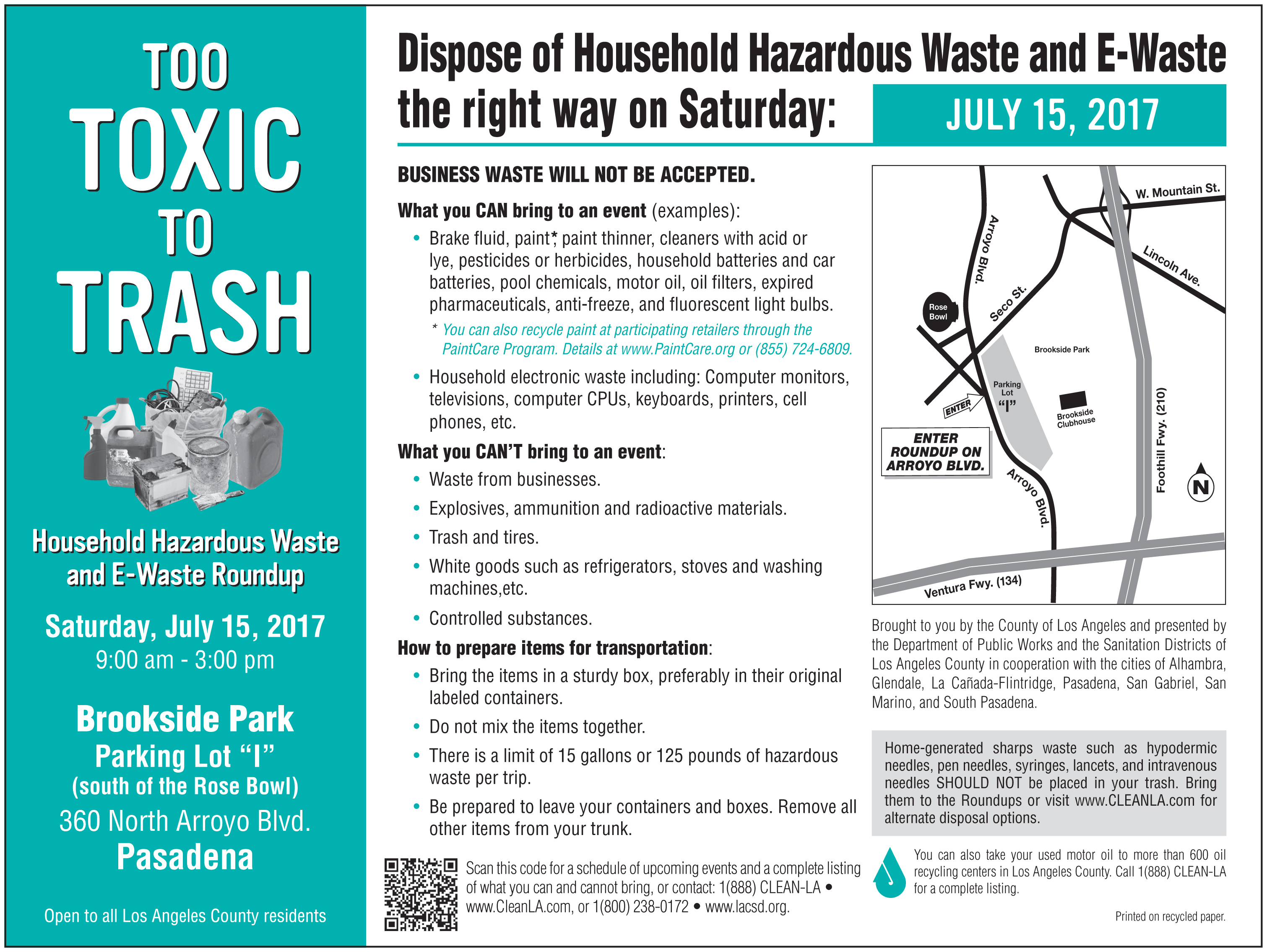Free Household Hazardous Waste Collection Event July 15