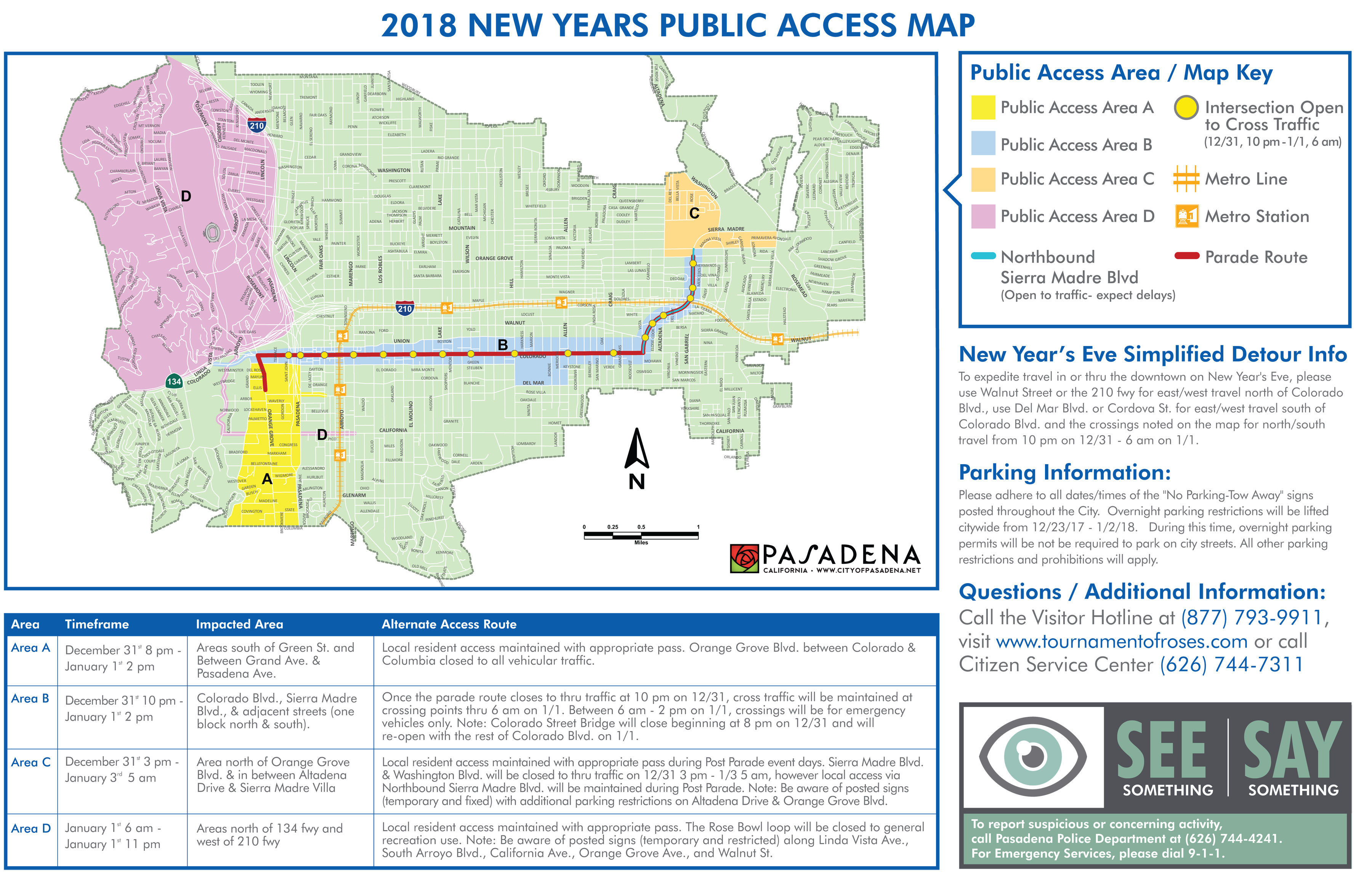 City Provides Public Access Map for Rose Parade and Rose Bowl Game ...