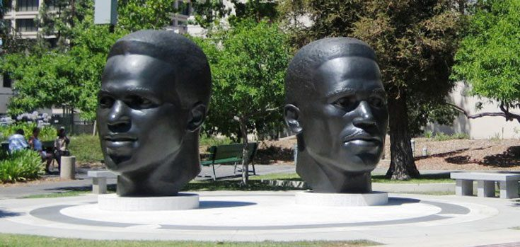 Robinson Memorial Statues in the Park