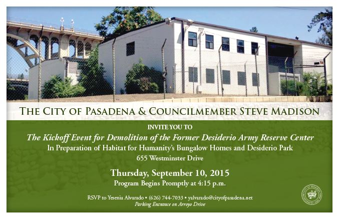 Desiderio Postcard Invitation for the Demolition of the Former Desiderio Army Reserve Center, Thursday September 10, 2015