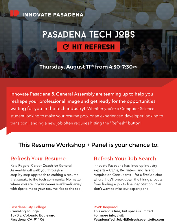 Pasadena Tech Jobs Hit Refresh Workshop and Panel - August 11, 2016