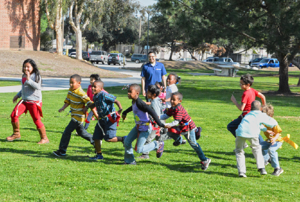 Kids running at the Victory Park Camp