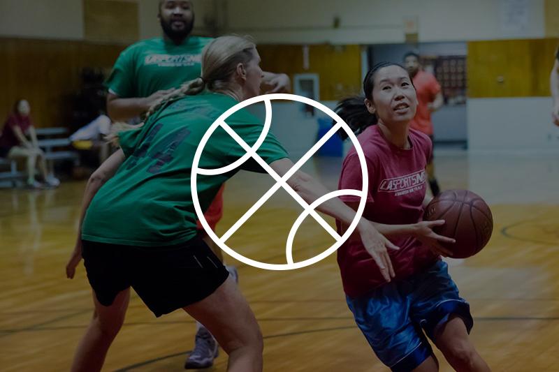 Image of adults playing basketball
