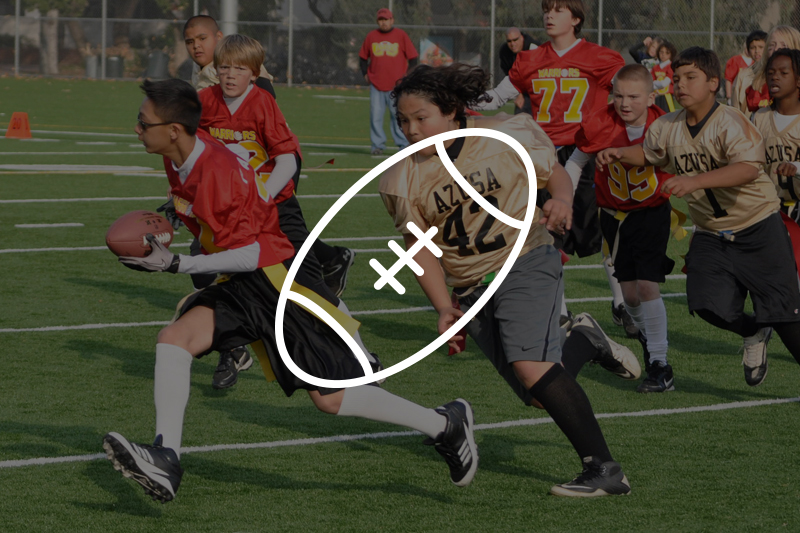 Image of flag football icon with kid playing in the background