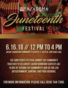 Juneteenth Festival 2018 flyer design with African-American theme