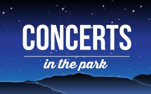 Image of dusk sky with Concerts in the Park letters