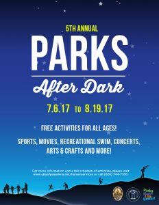 Parks After Dark Flyer Graphic with sundown background, mountains, and families