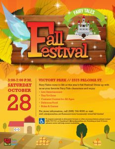 Flyer of Vector Images using Fall Colors. The background is a sunset with a farm house and trees,