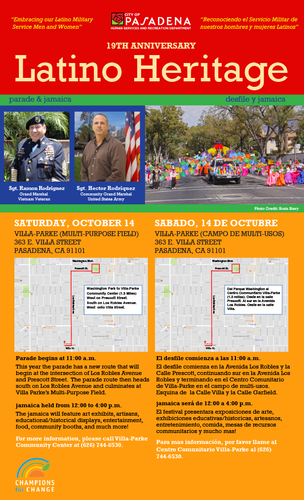 Latino Heritage Parade flyer 2017