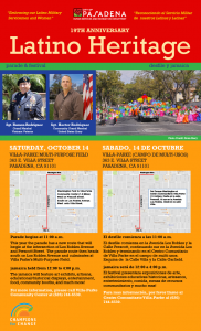 Latino Heritage Parade flyer with traditional hispanic colors.