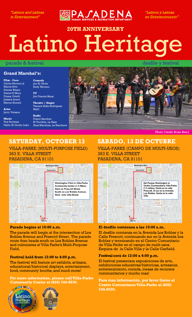 Latino Heritage Parade and Festival flyer2018