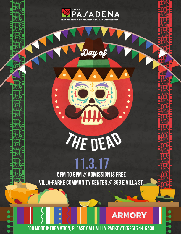 Day of the Dead Graphic using a sugar skull and traditional hispanic decorations.
