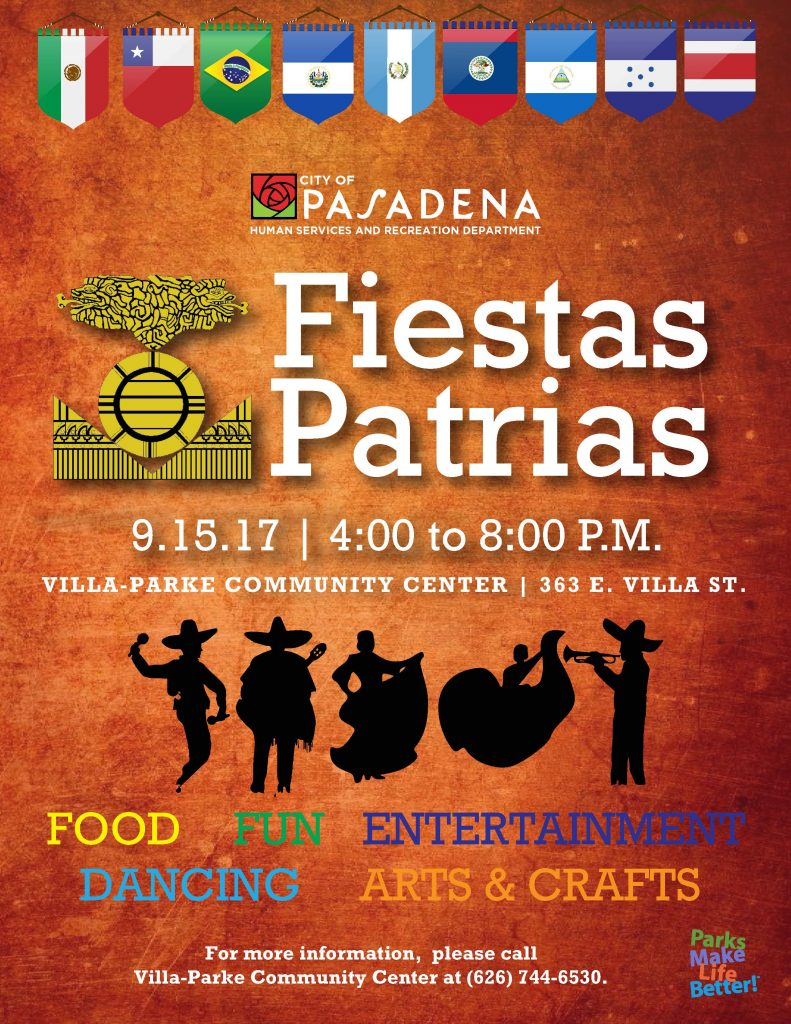 Fiestas Patrias flyer with silhouettes of people dancing and playing music.