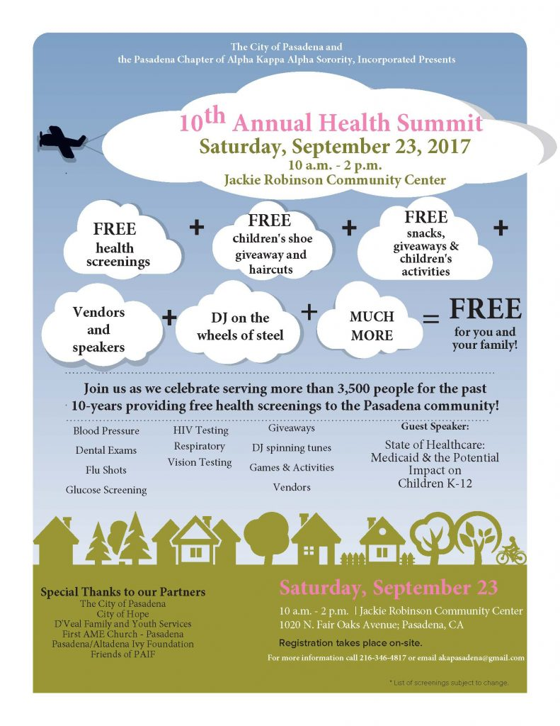 AKA's Health Summit 2017 FLYER with blue sky and green grass with shapes of homes
