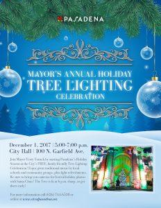 Mayor's Annual Holiday Tree Lighting Celebration Flyer