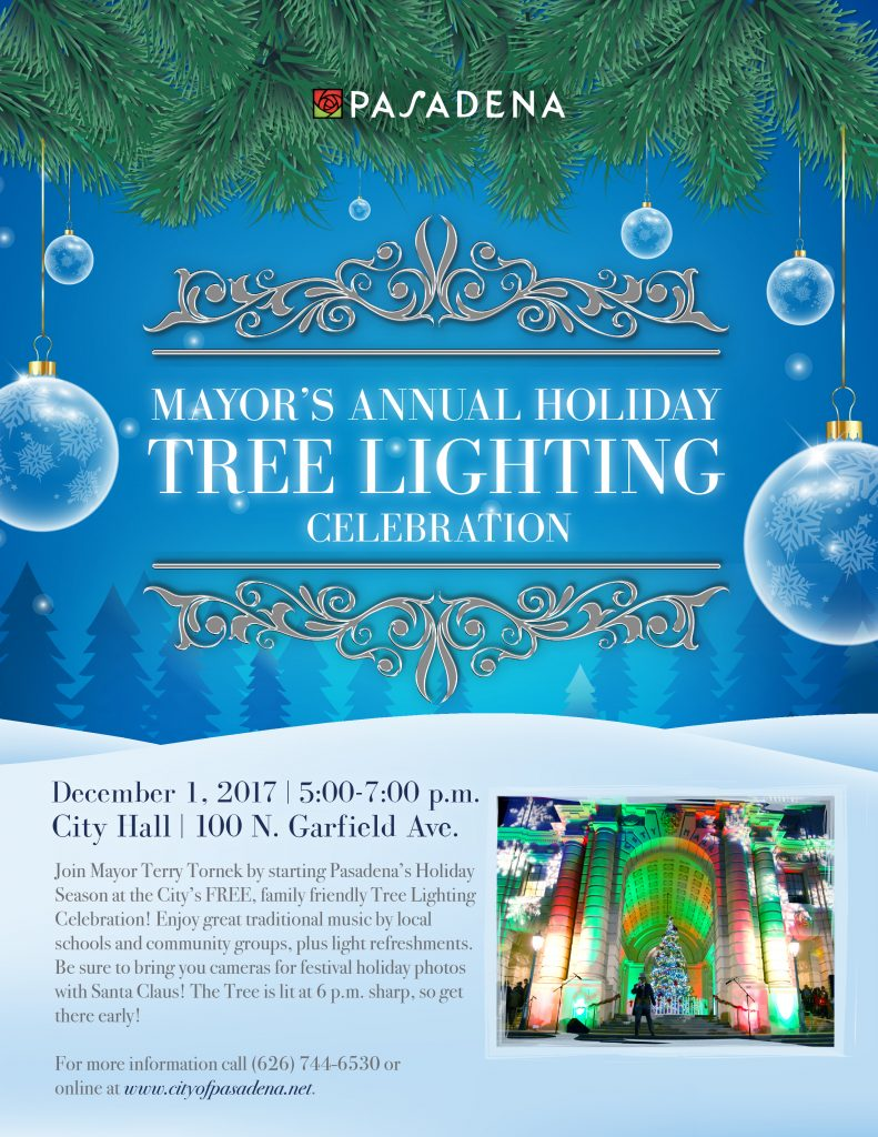 Mayor's Annual Holiday Tree Lighting Celebration Flyer