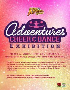 Adventures Cheer Dance Exhibition 2018 flyer