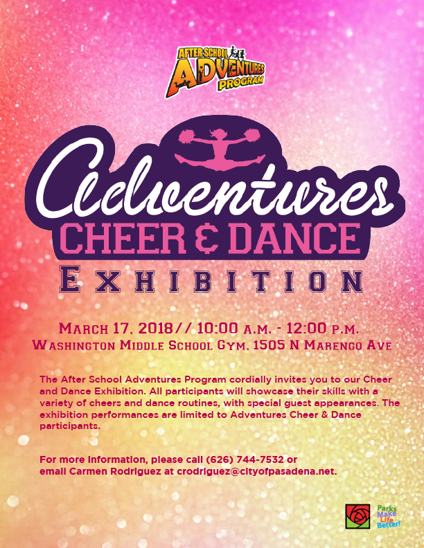 Adventures Cheer Dance Exhibition 2018 flyer