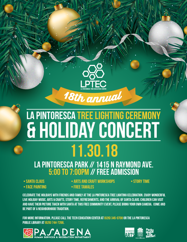 La Pintoresca Tree Lighting Ceremony and Holiday Concert flyer design