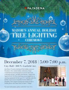 Mayor's Annual Holiday Tree Lighting Ceremony 2018 flyer design