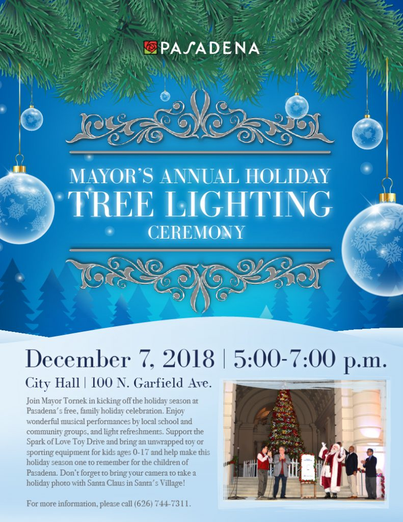 Mayor's Annual Holiday Tree Lighting Ceremony 2018 flyer design