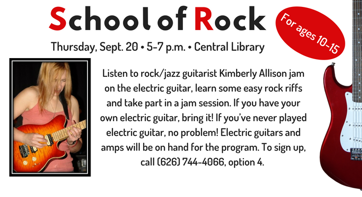 School of Rock at the Central Library on September 20 at 5pm.