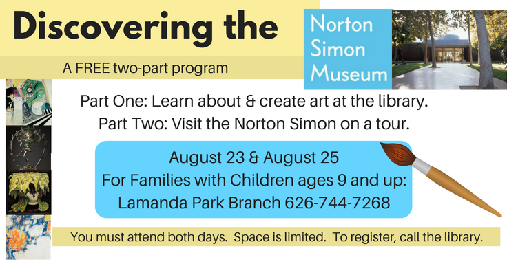 Discovering the Norton Simon Museum this August with the library.