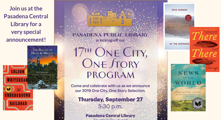 One City One Story Announcement Thursday, September 27 at the Central Library