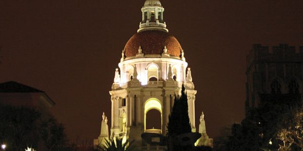 View of Pasadena City Hall Dome Lit at Night