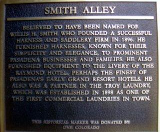 Smith Alley Plaque